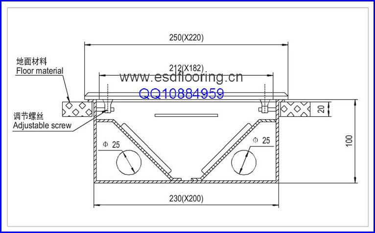 架空地板专用插座尺寸图